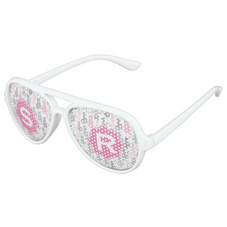 Whimiscal Pink and Gray Sketch Cat Gift Ideas Aviator Sunglasses