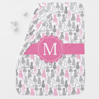 Whimiscal Pink and Gray Sketch Cat Gift Ideas Baby Blanket