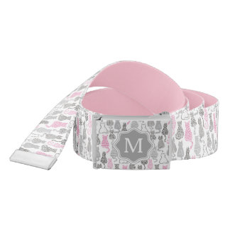 Whimiscal Pink and Gray Sketch Cat Gift Ideas Belt