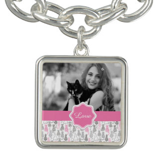Whimiscal Pink and Gray Sketch Cat Gift Ideas Charm Bracelet