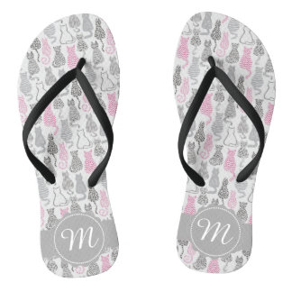 Whimiscal Pink and Gray Sketch Cat Gift Ideas Flip Flops