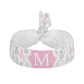 Whimiscal Pink and Gray Sketch Cat Gift Ideas Hair Tie