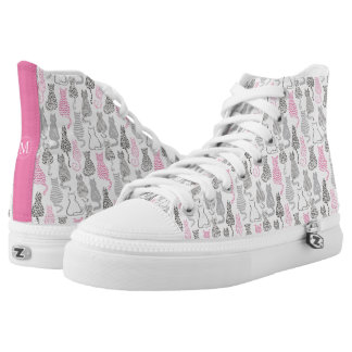 Whimiscal Pink and Gray Sketch Cat Gift Ideas High Tops