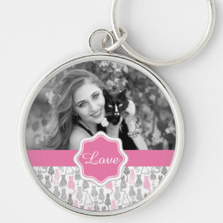 Whimiscal Pink and Gray Sketch Cat Gift Ideas Silver-Colored Round Keychain