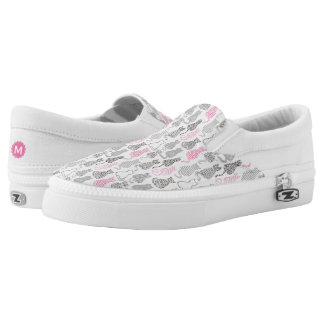 Whimiscal Pink and Gray Sketch Cat Gift Ideas Slip-On Sneakers
