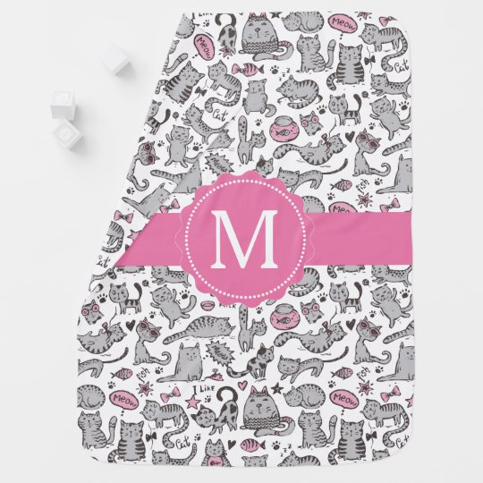Whimiscal Pink and Grey Cartoon Cat Gift Ideas Baby Blanket