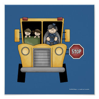 Whimiscal School Bus with Kids & Driver Print