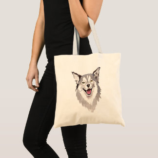 Whimisical Watercolor Husky Dog Tote Bag