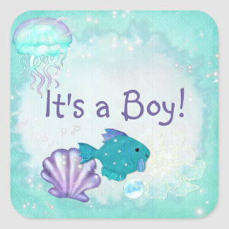 Whimsey Aquarium 2 Folk Art ITS A BOY GIRL Square Sticker