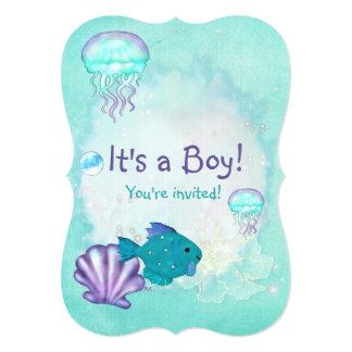 Whimsey Aquarium 2 ITS A BABY BOY GIRL SHOWER Card