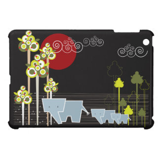 Whimsical 3 Elephants Family Sunset in the Forest Cover For The iPad Mini