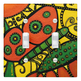 Whimsical Abstract Butterfly Bright Colors Light Switch Cover