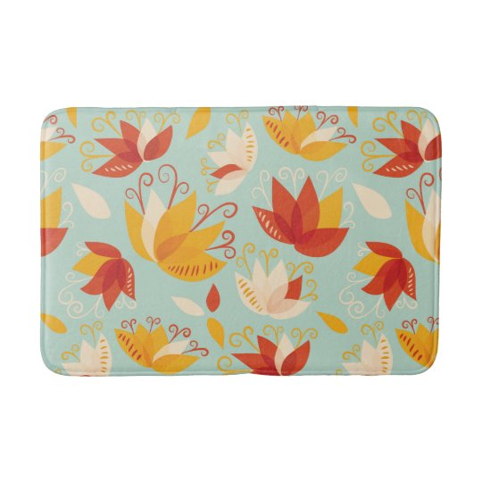 Whimsical Abstract Colourful Lily Floral Pattern Bath Mat