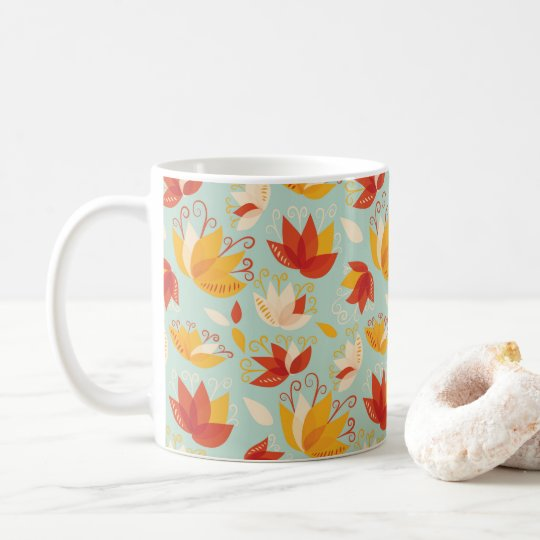 Whimsical Abstract Colourful Lily Floral Pattern Coffee Mug