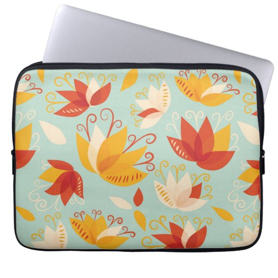 Whimsical Abstract Colourful Lily Floral Pattern Laptop Sleeve