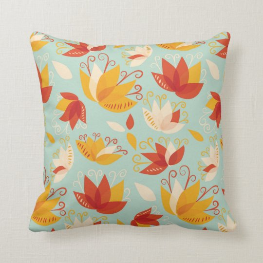 Whimsical Abstract Colourful Lily Floral Pattern Throw Pillow