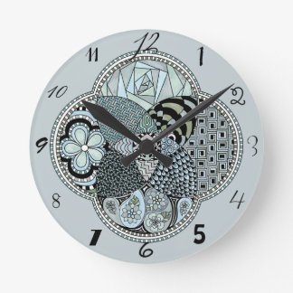Whimsical Abstract Doodle Pattern Blue and Green Round Clock