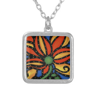 Whimsical Abstract Floral Silver Plated Necklace