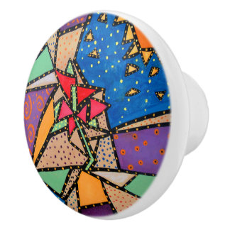 Whimsical Abstract Flower Bright Colors Ceramic Knob