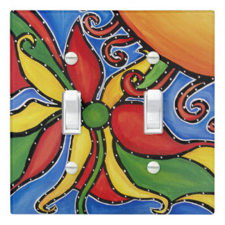Whimsical Abstract Flower Light Switch Cover