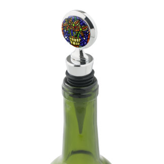 Whimsical Abstract Flowers Bright Colors Wine Stopper