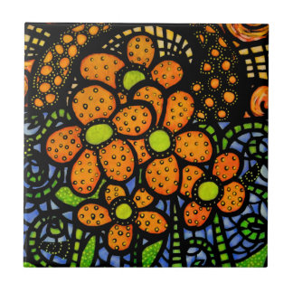 Whimsical Abstract Flowers Ceramic Tile