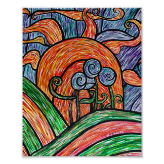 Whimsical Abstract Flowers Poster