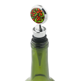 Whimsical Abstract Orange Flowers Wine Stopper