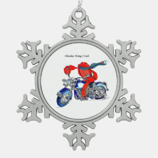 Whimsical Alaska King Crab Motorcycle Designed Pewter Snowflake Ornament