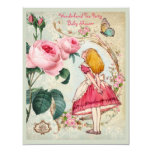 """Whimsical Alice in Wonderland Collage Baby Shower 4.25"""" X 5.5"""" Invitation Card"""