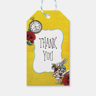 Whimsical Alice in Wonderland Gold Thank You Gift Tags