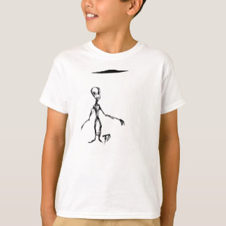 Whimsical Alien with Flying Saucer UFO T-Shirt