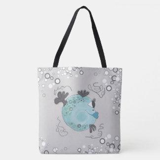 Whimsical and Adorable Fish Art Teal Tote Bag