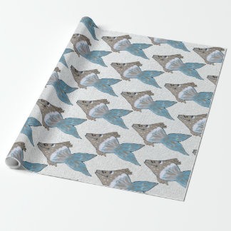 Whimsical and Adorable Fish Artwork in Rich Blues Wrapping Paper
