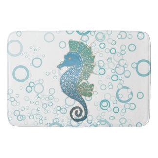 Whimsical and Adorable Seahorse Artwork Bath Mat