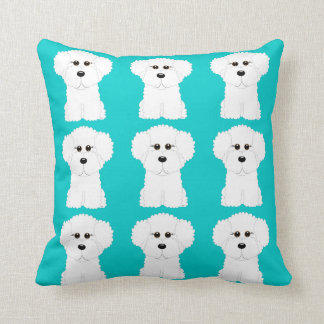 Whimsical and Cute Bichon Frise Throw Pillow