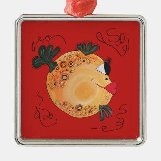 Whimsical and Fun Fish Art Holiday Gift Metal Ornament