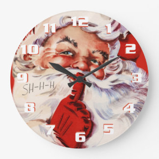 Whimsical and Fun Vintage Santa Large Clock