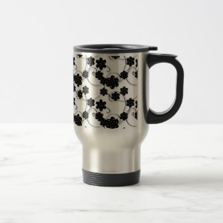 Whimsical and Romantic Black Flowers on White Travel Mug