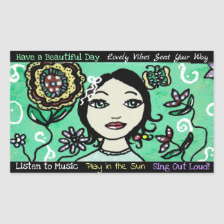 Whimsical Artsy Girl Flowers and Colorful Sticker