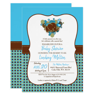 Whimsical Baby Elephant | Blue & Brown Plaid Card