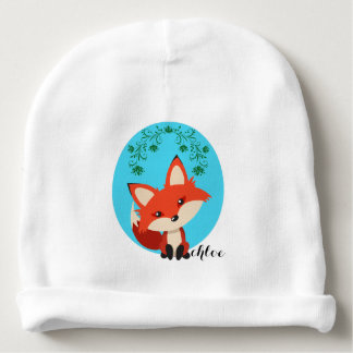 Whimsical Baby Fox And Floral Swirls Baby Beanie
