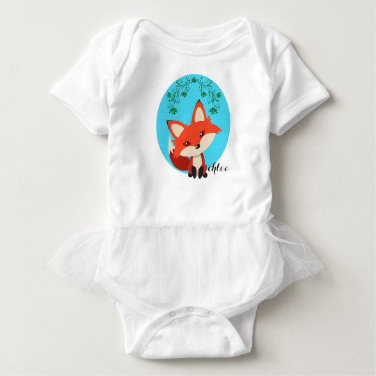 Whimsical Baby Fox And Floral Swirls Baby Bodysuit