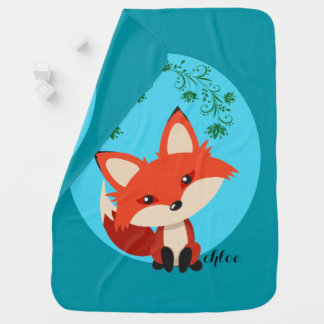Whimsical Baby Fox And Floral Swirls Stroller Blanket