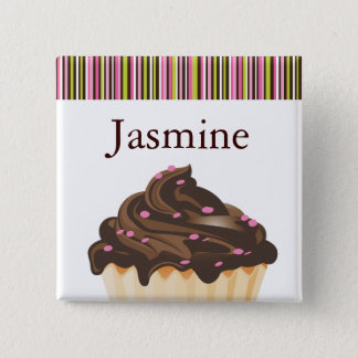 WHIMSICAL BAKERY CUPCAKE NAME TAG 2 INCH SQUARE BUTTON