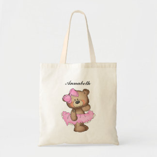 Whimsical Ballerina Bear Girls Tote Bag