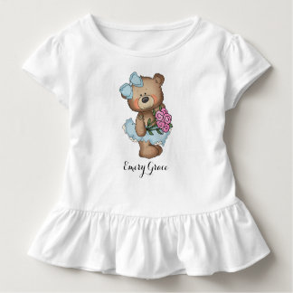 Whimsical Ballerina Bear with Flower Bouquet Toddler T-shirt