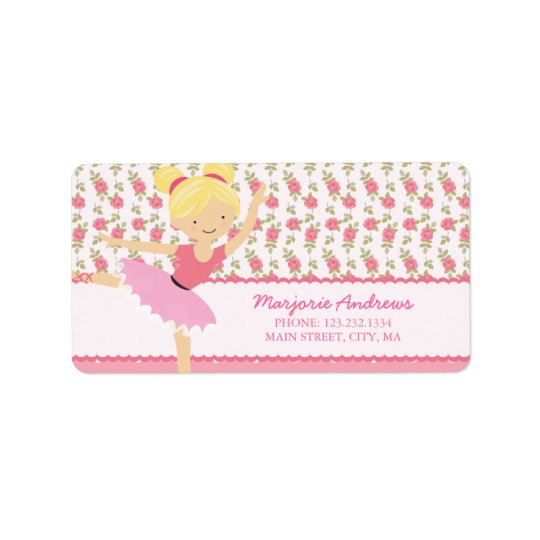 Whimsical Ballerina Floral Pink Girly Personalized Label