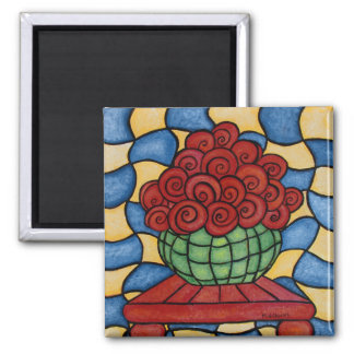 Whimsical Basket Of Flowers Magnet