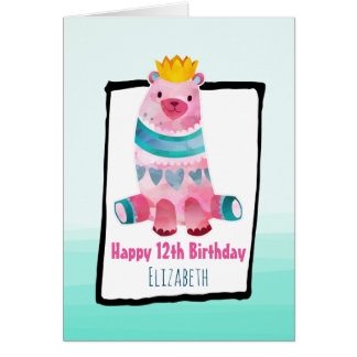 Whimsical Bear Wearing a Crown Happy Birthday Card
